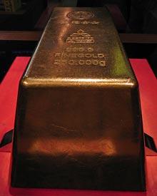 Världens största guldtacka från japan. 250kg.