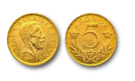 Gustav V 5kr guldmynt.